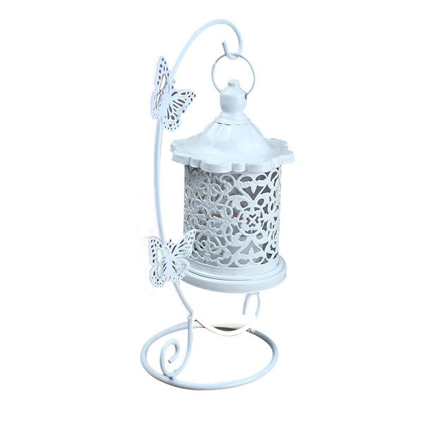 Household Decor Candlestick Lantern Iron Wedding Decor White Candle Holder Home Decor Moroccan Retro Hanged Candlesticks ZJ0173