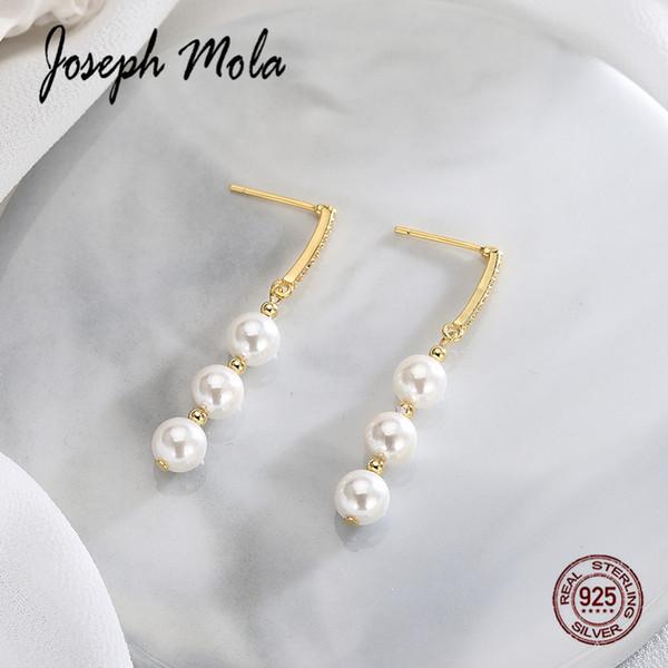 Joseph Mola 925 Sterling Silver Fresh Water Pearl Gold Longe Drop Earrings For Women Zircon Stone Eardrop Dating Party Birthday