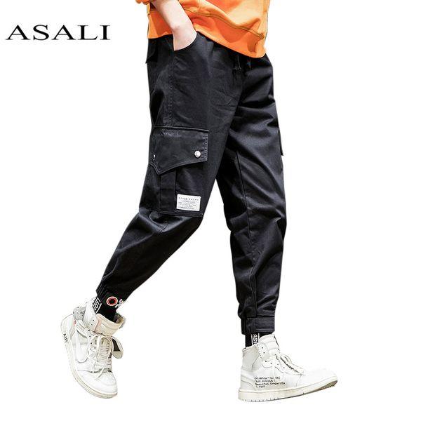 Calças de Carga Do Exército de Combate preto Calças de Trabalho Tactical Men Basculador Top Calças de Carga de Algodão Sólida Mens Casual Calças Finas