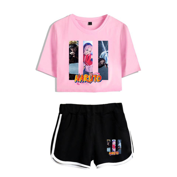 Naruto Anime Design Duas Piece Set Mulheres Sexy Define Camiseta Harajuku TShirt curto Midriff-descobrindo Tops T da menina Uzumaki roupa