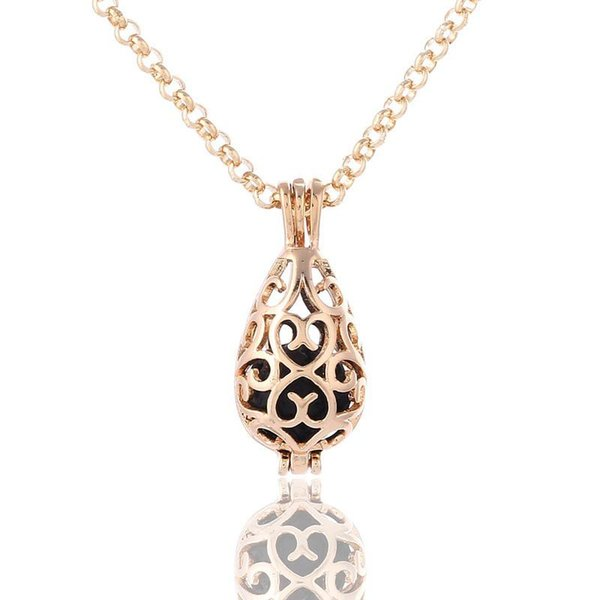 teardrop openwork essential oil necklace diffuser necklace wholesale perfume necklace aromatherapy jewelry diffusers metal volcanic stone 02