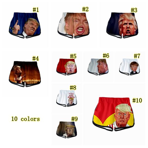 10 stil Trump 3D Seksi Eğlence Şort kadın Yaz Baskılı Elastik Hip Hop Şort Anne ve Bebek Gevşek Pantolon MMA2242