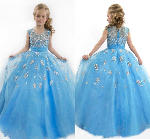Vente en gros bleu Belle robe de bal fleur filles Robes Jewel cou mancherons perles enfants Pageant Robes de fête de Noël Dresse