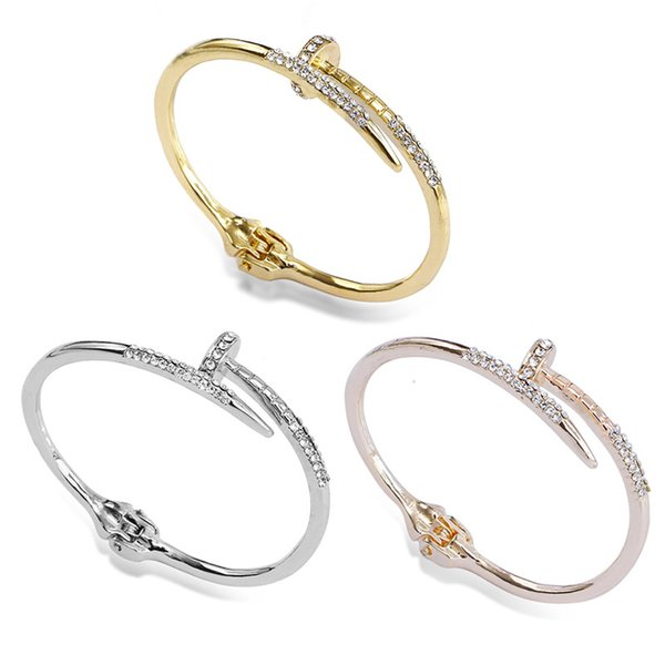 Bracelets Silver Cuff Bangle Bracelet Hot Sale Crystal Nail Bangles Punk Style American Giant Rivet Jewelry Free shipping 0898WH