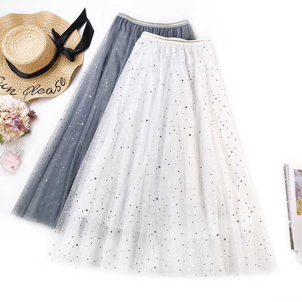 Sherhure 2019 Women Summer Mesh Skirts High Waist Three Layer Boho A-Line Skirt Faldas Jupe Femme Women Long Skirt Saia