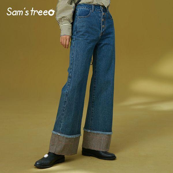 Samstree Vintage Autumn Winter Women Jeans Loose Plaid Patchwork Wide Leg Pants Sheer Cotton Female Full Length Trousers