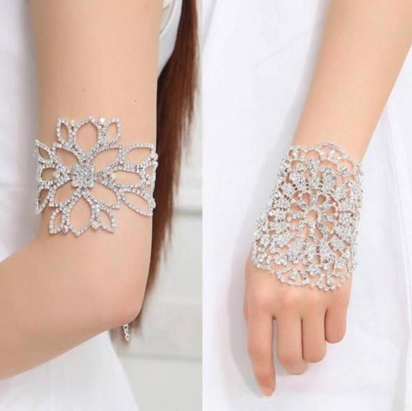 Mode Braut Armband Hochzeit Arm Schmuck Silber Farbe Luxus Kristall Strass Breite Slave Manschette Armreifen Und Armbänder
