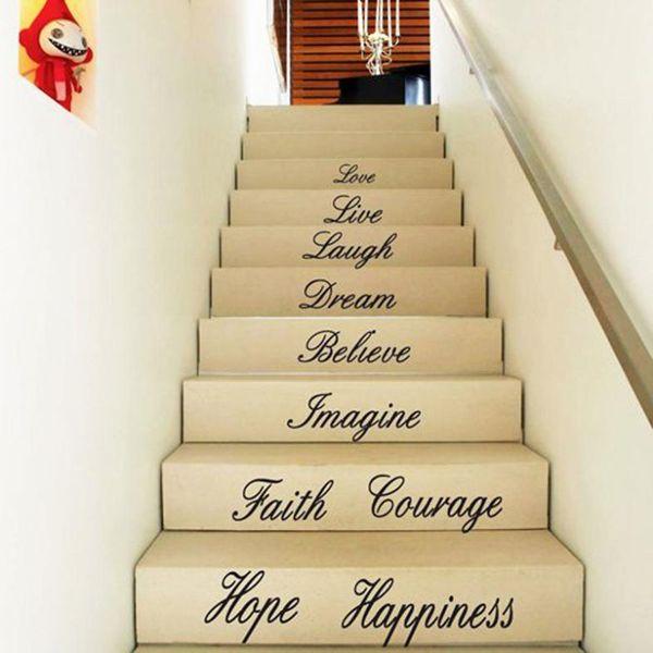 Toptan Satış - Toptan-Vinil Sanat Çıkartması Ev DIY Dekor Duvar Sticker Alıntı Kelimeler Aşk Live Gülmek Zemin Merdiven Kelimeler Aşk Etiketler