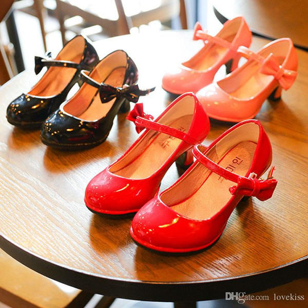 top popular ashion Children Dress Shoes PU leather Girls princess Wedding Shoes Toddler Korean high-heeled shoes baby Infant Kids Footwear A351 2021