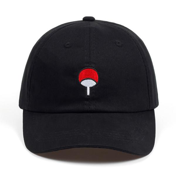 100% Coton Japonais Anime Naruto Papa Chapeau Uchiha Famille Logo Broderie Casquettes De Baseball Noir Snapback Chapeau Hip Hop pour Femmes Hommes