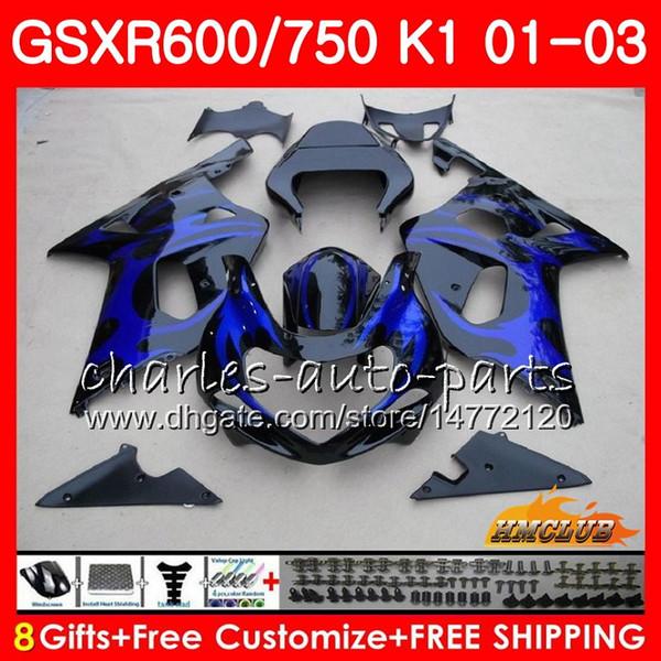 8Gifts Body For SUZUKI GSXR600 GSX R750 K1 GSXR-600 GSX-R750 Blue flames hot 4HC.39 GSXR750 GSXR 600 750 01 02 03 2001 2002 2003 Fairing kit