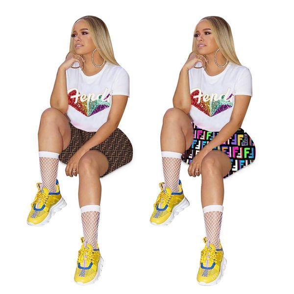 Donne F lettera Tuta paillettes glitter lettere manica corta maglietta top + pantaloncini pantaloni jogging 2 pz set estate abbigliamento sportivo A41107