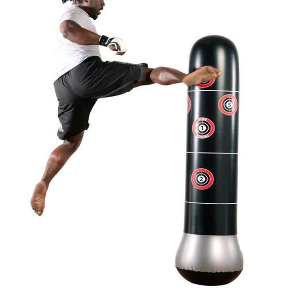 160см бокса Боксерский мешок Надувной Free-Stand массажер Муай Тай Обучение Pressure Relief Bounce Back Sandbag с воздушным насосом H2