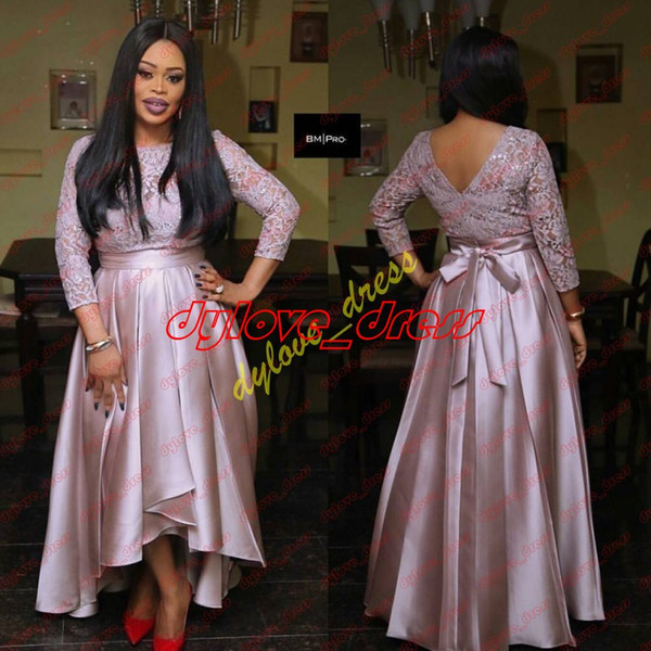 2019 plus size african black girl long sleeve prom cocktail homecoming dresses high low vestidos de fiesta arabic short evening gowns lace