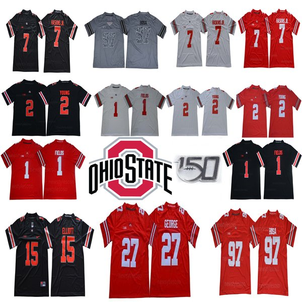 150 TH Ohio State Buckeyes 1 Justin Fields 2 Chase Jeune 7 Dwayne Haskins Jr. 27 Eddie George 97 Nick Bosa 15 Elliott NCAA Football Maillots