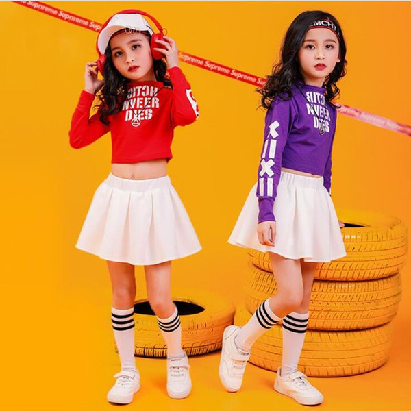 Girls Sweatshirt Skirt Jazz Ballroom Dancing Outfits stage clothes Kids Cheerleader Hip Hop Clothing Suits Dance Costumes