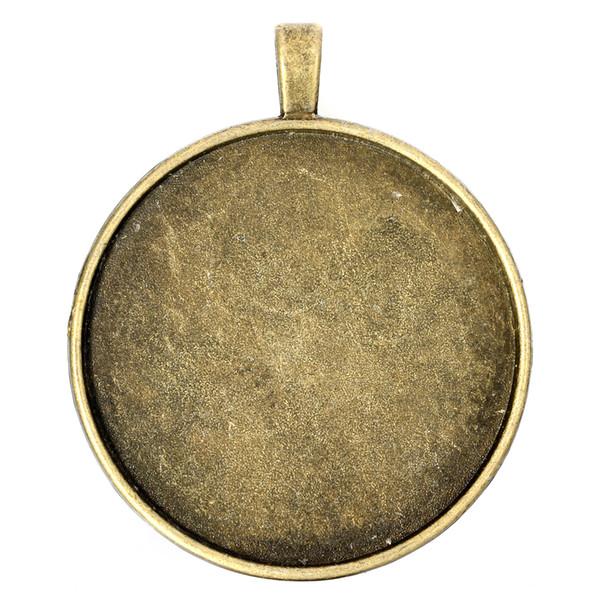 10pcs / lot 40mm bronzo antico metallo vuoto ciondoli vassoi ciondolo bianco cabochon impostazioni di base per gioielli fai da te risultati