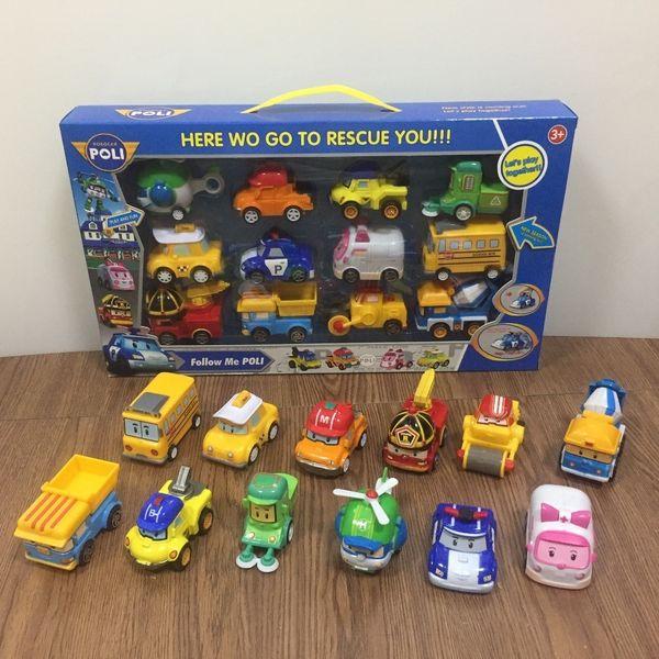12pcs/set Robocar Poli Korea Toys Robot Poli Amber Roy Pull Back Car Toys Anime Action Figure Toys Best Gifts For Children Y190604