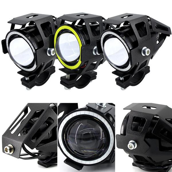 top popular 125W Motorcycle Headlight w  Angel Eye Devil Eye 3000LM moto spotlight U7 LED Driving Fog Spot Head Light Decorative Lamp 2021