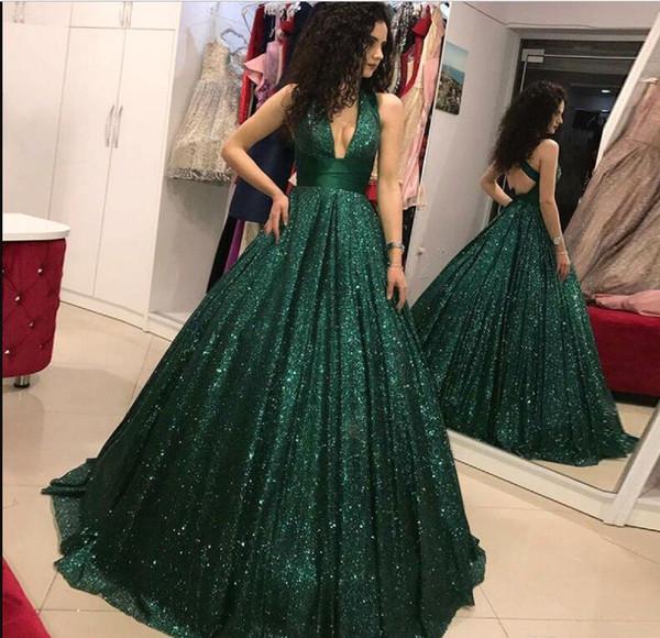 Glitz Sequined Dark Green Burgundy Evening Dresses New Arrival 2019 A Line Backless V Neck Long Vestidos Prom Gowns