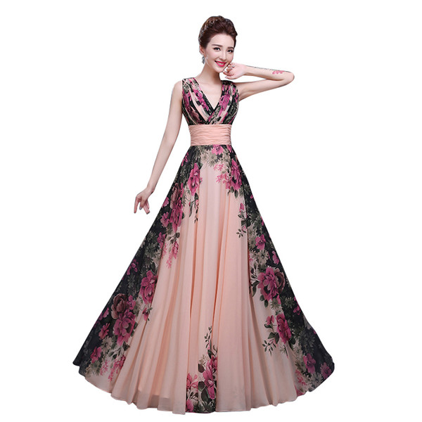 Floral Printed V-neck Sleeveless Chiffon A-line Formal Evening Dress Long Floor-length Evening Party Prom Dress Pregnant