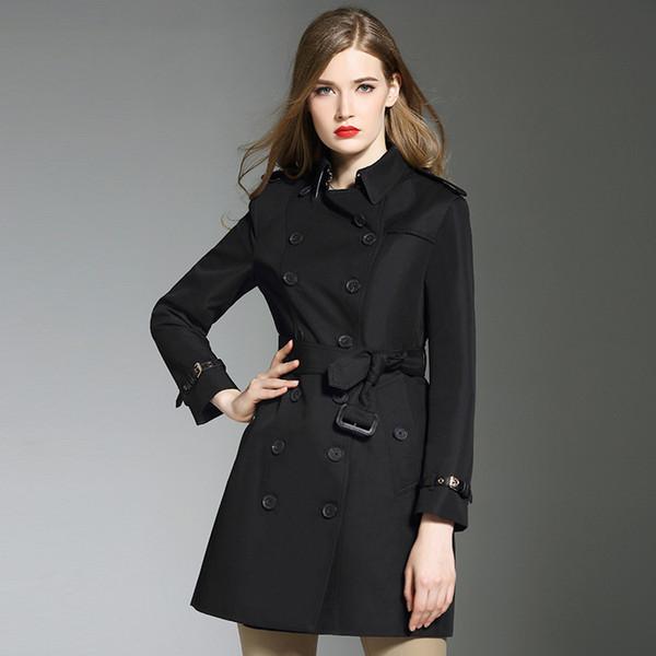 zapatos de separación dd910 b5ddc Compre Moda Mujer Marca Abrigo Delgado Trench Coat Mujer Negro Primavera  Otoño Abrigos Abrigos Mujeres Con Cintura Ajustable Decoración B5066 A  $82.42 ...