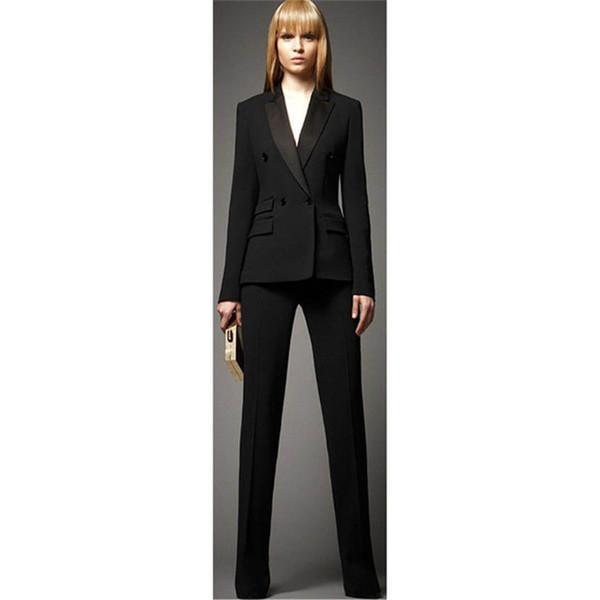 Jacket+Pants Women Business Suits Black Double Breasted Female Office Uniform Ladies Formal Trouser Suit 2 Piece Set Blazer