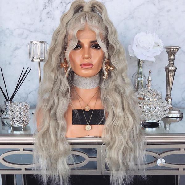 Livraison Gratuite Haute Température Fibre Ruban Gris Synthétique Perruque Avant De Lacet Avec Des Cheveux De Bébé 180 Platine Blonde Lâche Vague Perruques Pour Les Femmes