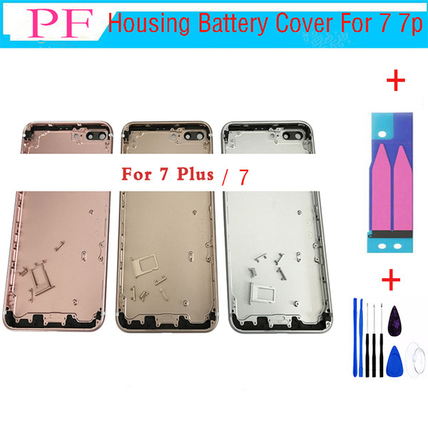 New Back Housing Battery Cover for iPhone 7 7 plus with LOGO & Buttons & Sim Tray +Custom IMEI Fundas Chassis Rear Door Middle Body Panel