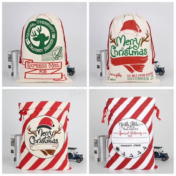 Bolsas de regalo de Navidad Bolsa de lona pesada orgánica grande Bolsa de cordón de saco de Navidad con renos Bolsas de saco de Santa Claus para niños Bolsos LJJA2959