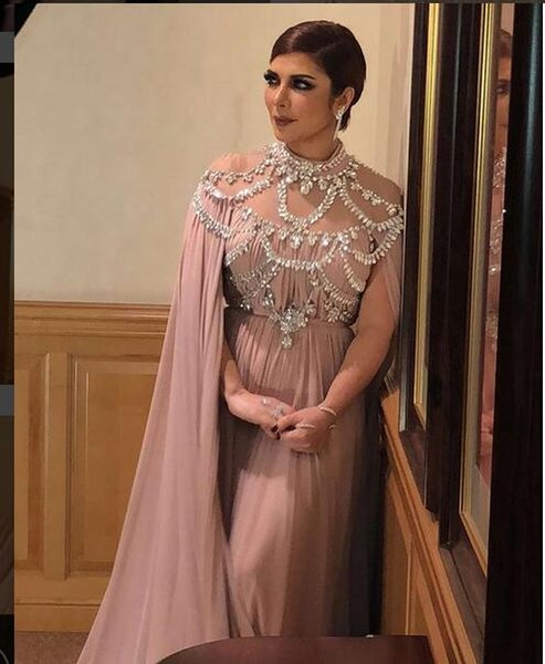 Evening dress Yousef aljasmi Labourjoisie Zuhair murad A-Line High Collar Long Sleeve Chiffon Crystal Beading Long Dress James_paul