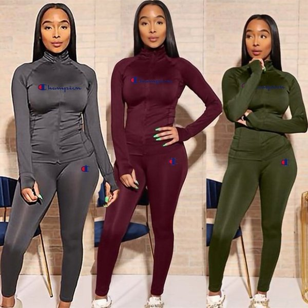top popular womens hoodie legging two piece set outfits long sleeve tracksuit jacket pants sportswear panelled outerwear tights sports set hot 2473 2020