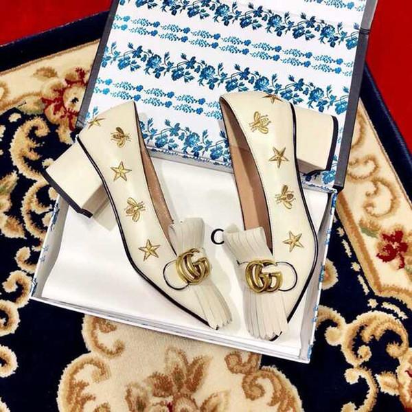 Salto mulheres moda de luxo sapatos de salto alto moda 2020 mulheres borla couro genuíno sapatos Superstar Chunky vestir sapatos de casamento para as mulheres