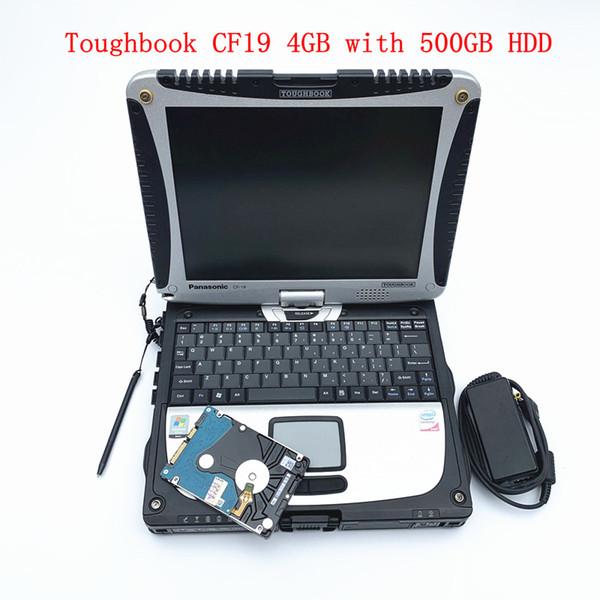 Toughbook CF19 4GB ordinateur portable avec 500 Go de disque dur rotatif anti-corrosion travail militaire pour mb étoile c4 c5 c6 alldata outil de diagnostic