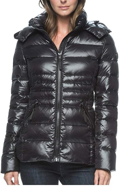 women Ladies short slim shiny solid color down jacket