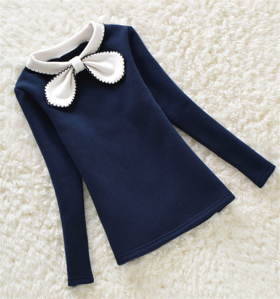best selling Autumn Girls Blouse Children Clothing Cute Bow Child Shirt Cotton Long Sleeve Shirt Kids Clothes 4 Colors Age 2-16T 1584 Y200704