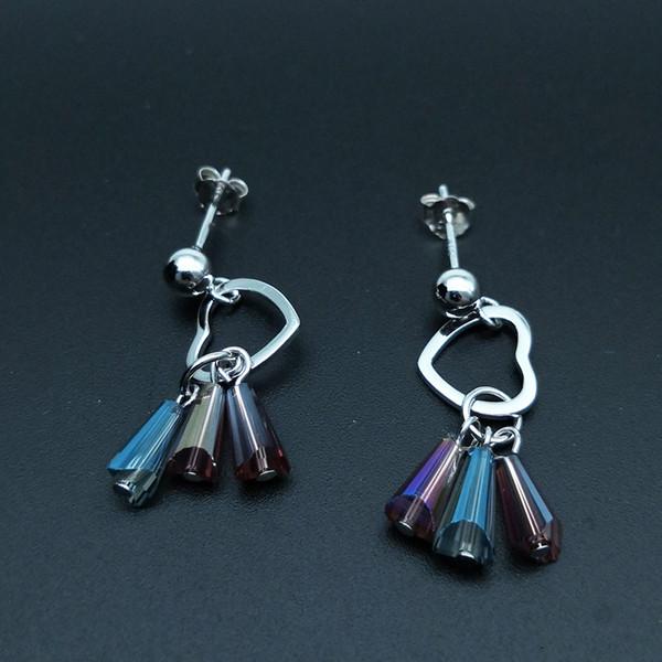Gümüş 925 Püskül Küpe Yeni Yapay Renkli Kristal Bırak Küpe S925 Takı Genç Kızlar ve Kadınlar için