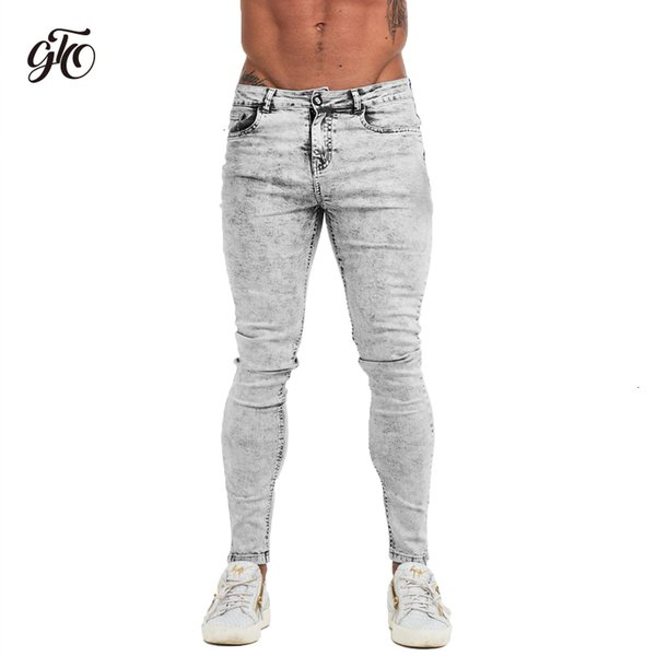 Gingtto узкие джинсы мужчины светло-серый 2019 Марка мужские джинсы большие размеры Slim Fit брюки для человека лодыжки плотно прилегают плюс размер zm71MX190904