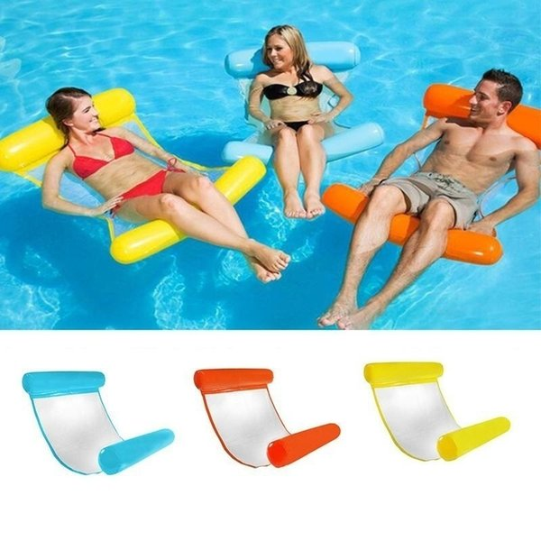Inflatable Pool Floating Water Hammock Float Lounger Floating Bed Chair Swimming Pool Inflatable Hammock Bed Pool Outdoor Foldable Party Toy