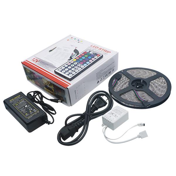 Juego de luces de tira LED Edison2011 RGB Set 5050 Juego de tiras 5m 300LEDs + 44 teclas Controlador remoto IR + Adaptador de fuente de alimentación en caja de venta al por menor