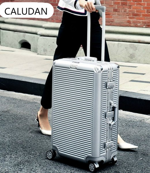 "Aluminum frame+PC Rolling Luggage Bag,New Travel Suitcase with wheel,Men Trolley Case,Women Multiwheel Carry-On,20""24""26""29"" Box"