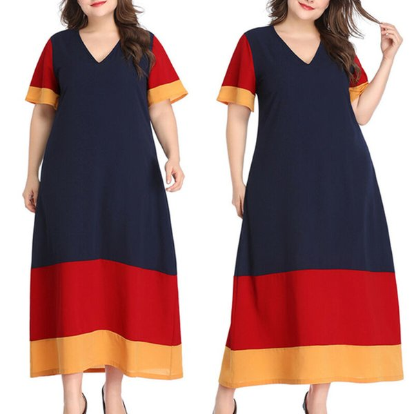 Womens Ladies Splice Short Sleeve Long Dress Plus Size Colour Block Maxidress