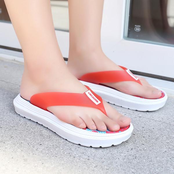 MUQGEW Zapatos de mujer Zapatillas Flip Flop Plataforma antideslizante Estampado floral Masaje de pies Punta redonda Zapatos de verano de playa zapatos de mujer