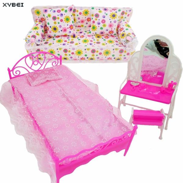 Acheter 3 Articles 1x Meubles De Lit De Poupée 1x Coiffeuse De Maison 1x Canapé En Tissu Fleur Pour Poupée Barbie Accessoires Cadeau