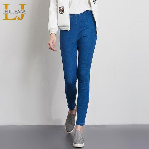 Leijijeans Autumn Plus Size 3 Color Available Side Zipper Jeans With High Waist Large Size Skinny Pencil Jeans Women Jeans Q190421