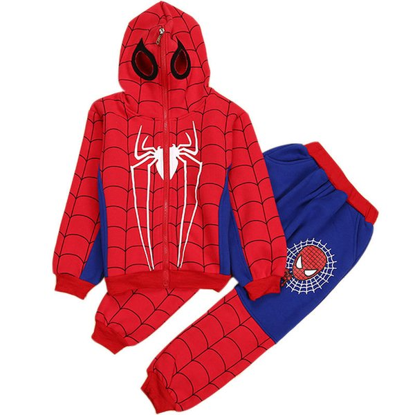 3-8y Spiderman Baby Boys Clothing Sets Cotton Sport Suit Children Fashion Cool Spider Man Cosplay Costume Kids Tracksuit Clothes Y190518
