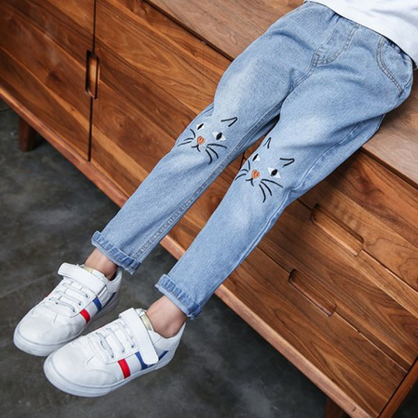 Cartoon Cat Kids Jeans 2019 Ripped Jeans for Kids Children's Wear Girls Leggings New 4-12Y Girls Casual Pants