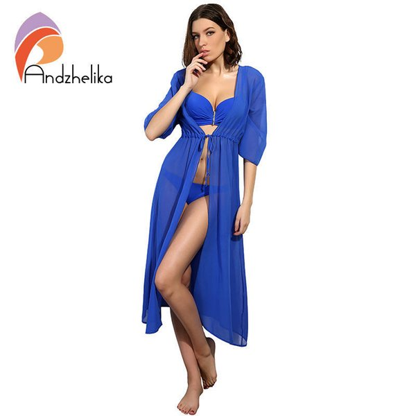 Andzhelika Swimsuit Women Sexy Cover-ups Chiffon Long Dress Solid Beach Cardigan Bathing Suit Cover Up Q190521