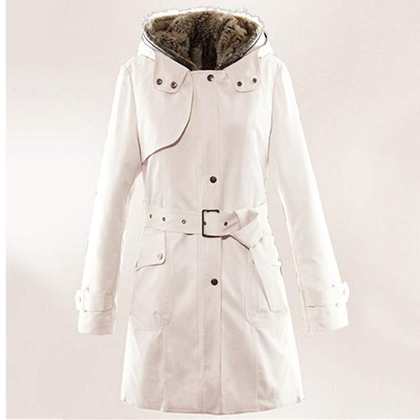 JAYCOSIN Chaqueta de invierno para mujer largo abrigo de forro de piel para mujer Invierno cálido gruesa chaqueta larga con capucha Parka Hoody YY28
