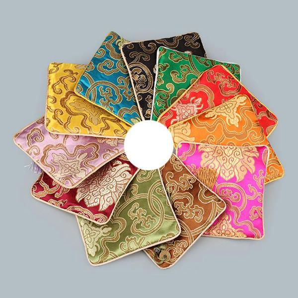 Новый Квадратный Китайский Стиль Вышивка Ювелирные Изделия Дисплей Упаковка Мешки Молния Свадьба Пользу Подарок Повезло Шелковые Сумки